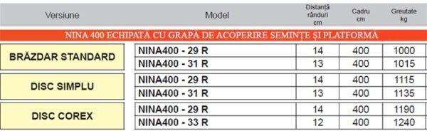 Semanatoare pentru plante paioase NINA 400 – Maschio Gaspardo