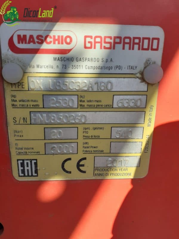 Masina de erbicidat 3200/18 + BRAVO 400 – Maschio Gaspardo